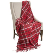 """Johnstons of Elgin Limited Edition Lambswool Blanket - 67x55"""" in Red / Blue Plaid - Closeouts"""
