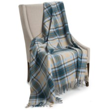 """Johnstons of Elgin Limited Edition Lambswool Blanket - 67x55"""" in Tan/Grey/Blue - Closeouts"""