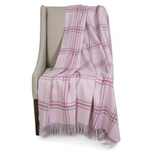 """Johnstons of Elgin Limited Edition Lambswool Blanket - 67x55"""" in White/Pink/Green Plaid - Closeouts"""
