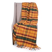 """Johnstons of Elgin Limited Edition Lambswool Blanket - 67x55"""" in Yellow/Brown Plaid - Closeouts"""