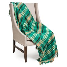 "Johnstons of Elgin Limited Edition Throw Blanket - Lambswool, 67x55"" in Camel/Teal/Yellow/White - Closeouts"