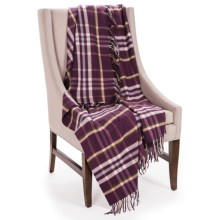 Johnstons of Elgin Limited Edition Throw Blanket - Merino Wool-Cashmere in Aubergine/White/Oatmeal - Closeouts