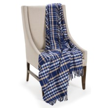 Johnstons of Elgin Limited Edition Throw Blanket - Merino Wool-Cashmere in Blue/Camel/White - Closeouts