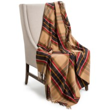 Johnstons of Elgin Limited Edition Throw Blanket - Merino Wool-Cashmere in Camel / Grey / Yellow Plaid - Closeouts