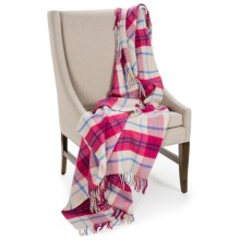 Johnstons of Elgin Limited Edition Throw Blanket - Merino Wool-Cashmere in Ivory/Pink/Periwinkle - Closeouts