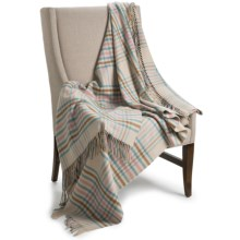 Johnstons of Elgin Limited Edition Throw Blanket - Merino Wool-Cashmere in Oatmeal / Blue Plaid - Closeouts