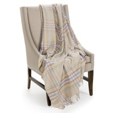 Johnstons of Elgin Limited Edition Throw Blanket - Merino Wool-Cashmere in Oatmeal/Light Blue/Camel - Closeouts