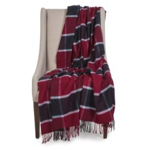 Johnstons of Elgin Limited Edition Throw Blanket - Merino Wool-Cashmere in Red/Black/White Block - Closeouts