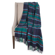 Johnstons of Elgin Limited Edition Throw Blanket - Merino Wool-Cashmere in Vu938 Navy/Green/White - Closeouts