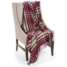 Johnstons of Elgin Limited Edition Throw Blanket - Merino Wool-Cashmere in Wine/Ivory/Charcoal - Closeouts