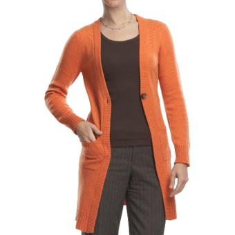 Johnstons of Elgin Long Cardigan Sweater - Cashmere, One Button (For Women) in Cinnamon