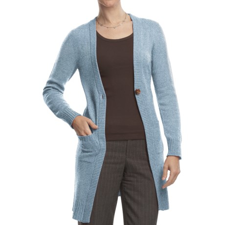 Johnstons of Elgin Long Cardigan Sweater - Cashmere, One Button (For Women) in Ice Blue