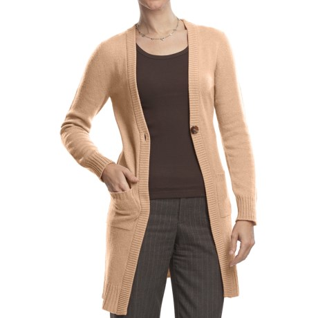 Johnstons of Elgin Long Cardigan Sweater - Cashmere, One Button (For Women) in Oatmeal