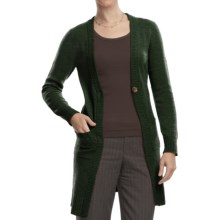 Johnstons of Elgin Long Cardigan Sweater - Cashmere, One Button (For Women) in Pine - Closeouts