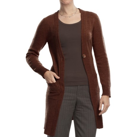 Johnstons of Elgin Long Cardigan Sweater - Cashmere, One Button (For Women) in Tobacco