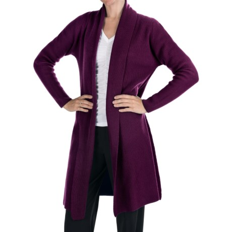 Johnstons of Elgin Long Cashmere Cardigan Sweater - Shawl Collar (For Women) in Bordeaux