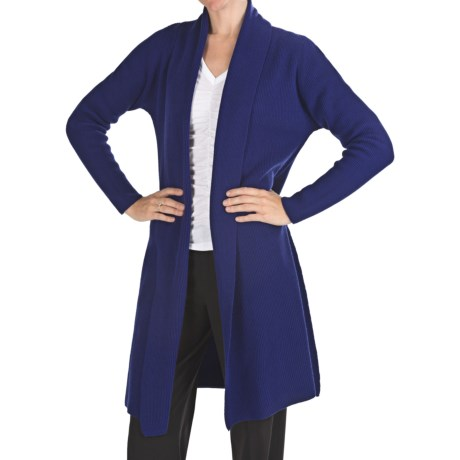 Johnstons of Elgin Long Cashmere Cardigan Sweater - Shawl Collar (For Women) in Marine