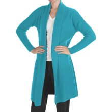 Johnstons of Elgin Long Cashmere Cardigan Sweater - Shawl Collar (For Women) in Turquoise - Closeouts