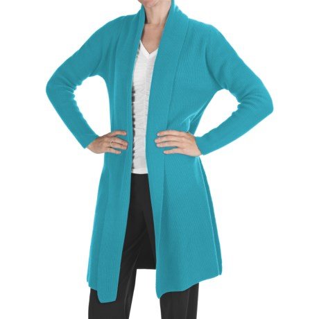 Johnstons of Elgin Long Cashmere Cardigan Sweater - Shawl Collar (For Women) in Turquoise