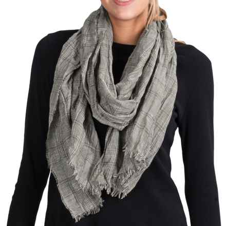 Johnstons of Elgin Luxe Glen Plaid Scarf - Lightweight (For Women) in Grey - Closeouts