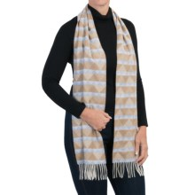 Johnstons of Elgin Merino-Angora Woven Scarf (For Women) in Beige/Blue - Closeouts