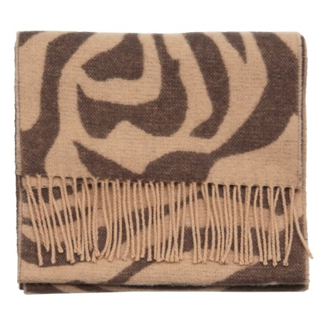 Johnstons of Elgin Multi-Pattern Scarf - Woven Lambswool (For Men and Women) in Camel