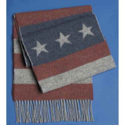 Johnstons of Elgin Multi-Pattern Scarf - Woven Lambswool (For Men and Women) in Stars And Stripes - Closeouts