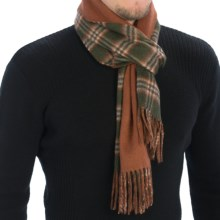 Johnstons of Elgin Multi-Tone Sport Check Scarf - Cashmere (For Men and Women) in Green/Brown Check/Brown - Closeouts