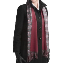 Johnstons of Elgin Multi-Tone Sport Check Scarf - Cashmere (For Men and Women) in Grey/Red Check/Red - Closeouts