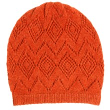 Johnstons of Elgin Pointelle Cashmere Beanie (For Women) in Autumn Leaf - Closeouts