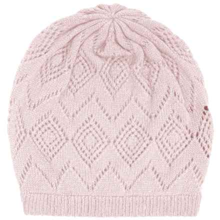 Johnstons of Elgin Pointelle Cashmere Beanie (For Women) in Cherry Blossom - Closeouts