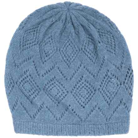 Johnstons of Elgin Pointelle Cashmere Beanie (For Women) in China Blue - Closeouts