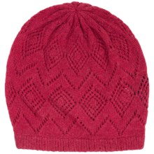 Johnstons of Elgin Pointelle Cashmere Beanie (For Women) in Crimson - Closeouts