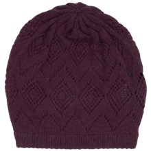 Johnstons of Elgin Pointelle Cashmere Beanie (For Women) in Plum - Closeouts