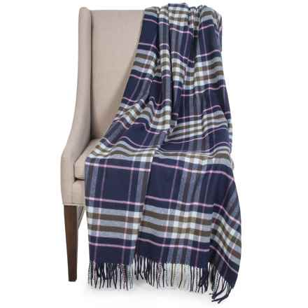 "Johnstons of Elgin Pure Cashmere Throw Blanket - 55x75"" in Navy/Pink Plaid - Closeouts"