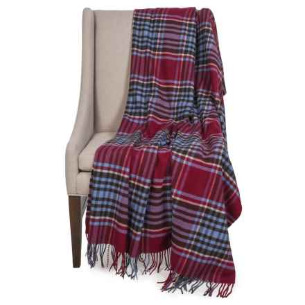 "Johnstons of Elgin Pure Cashmere Throw Blanket - 55x75"" in Red/Black Plaid - Closeouts"