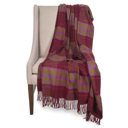 "Johnstons of Elgin Pure Cashmere Throw Blanket - 55x75"" in Red/Green Plaid - Closeouts"