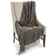 """Johnstons of Elgin Pure Cashmere Throw Blanket - 75x55"""" in Grey/Red/Blue/Green Plaid - Closeouts"""