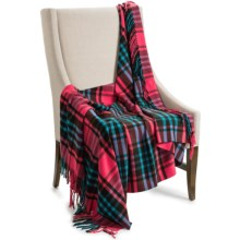 "Johnstons of Elgin Pure Cashmere Throw Blanket - 75x55"" in Pink/Blue Plaid - Closeouts"