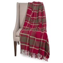 "Johnstons of Elgin Pure Cashmere Throw Blanket - 75x55"" in Red/Black/Cream Plaid - Closeouts"