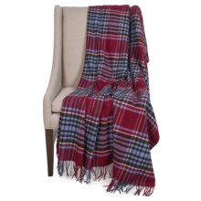 "Johnstons of Elgin Pure Cashmere Throw Blanket - 75x55"" in Red/Black Plaid - Closeouts"