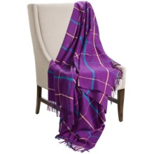 "Johnstons of Elgin Pure Cashmere Throw Blanket - 75x55"" in Violet/Turquoise - Closeouts"