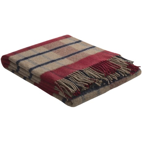 Johnstons of Elgin Recycled Wool Blend Throw Blanket in Red/Vanilla/Black