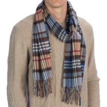 Johnstons of Elgin Revived Check Scarf - Cashmere-Merino Wool (For Men and Women) in Camel/Diesel/Red - Closeouts