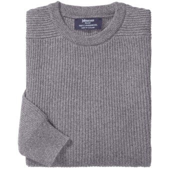 Johnstons of Elgin Ribbed Lambswool Sweater (For Men) in Grey Mix