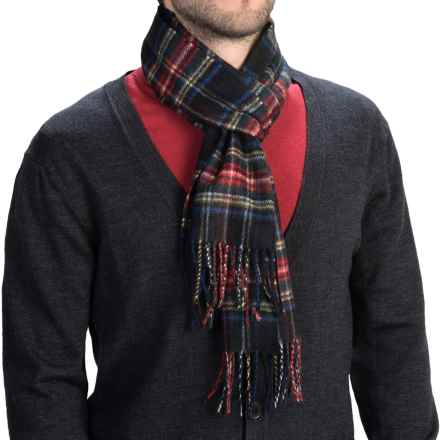 Johnstons of Elgin Royal Speyside Cashmere Scarf (For Men and Women) in Black Stewart - Closeouts