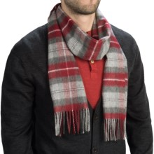 Johnstons of Elgin Royal Speyside Cashmere Scarf (For Men and Women) in Charcoal/Grey/Red Plaid - Closeouts