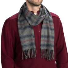 Johnstons of Elgin Royal Speyside Cashmere Scarf (For Men and Women) in Grey/Blue/Red Fancy - Closeouts