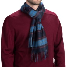 Johnstons of Elgin Royal Speyside Cashmere Scarf (For Men and Women) in Navy/Blue/Red Fancy - Closeouts