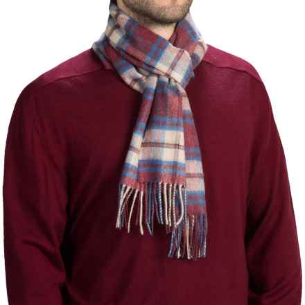 Johnstons of Elgin Royal Speyside Cashmere Scarf (For Men and Women) in Red/Natural/Blue Fancy - Closeouts